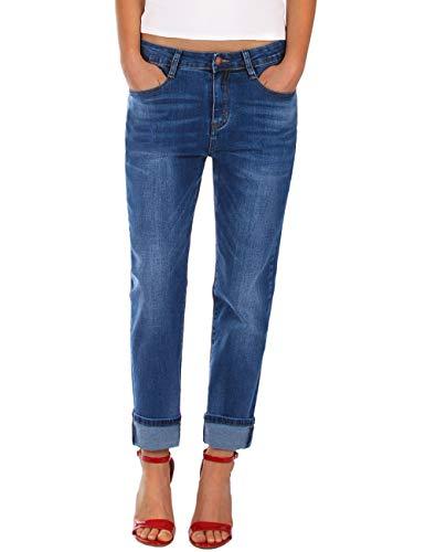 Fraternel Damen Jeans Hose Boyfriend Baggy Stretch Relaxed Blau M