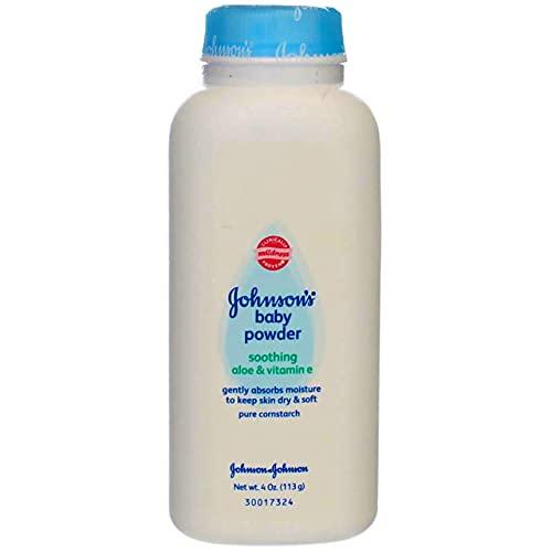 Johnson's Baby Powder con aloe y vitamina E derivados naturalmente de almidón de maíz y almidón de maíz hipoalergénico, 4 oz
