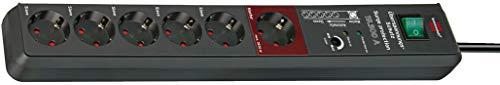 Brennenstuhl Secure-Tec, Steckdosenleiste 6-fach mit Überspannungsschutz und Master Slave Funktion (3m Kabel und Schalter) anthrazit