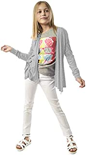 KIDPIK Cardigan for Girls – Open Front Spring/Summer Sweater w Long Sleeves in Fuchsia Pink, Gray, Purple, Navy Blue or Black