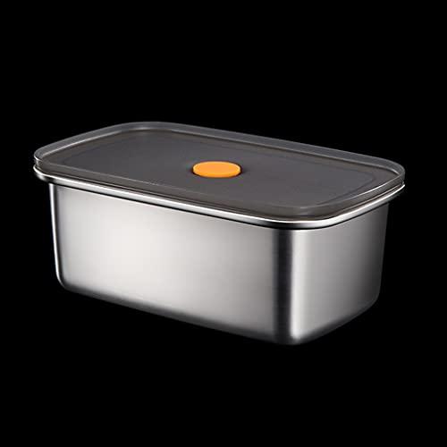 ShiftX4 Caja de almacenamiento de alimentos, nevera rectangular de acero inoxidable, caja de almuerzo portátil de almacenamiento de alimentos, picnic, camping, comida al aire libre crujiente