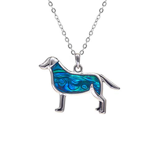 Byzantium Collection Paua Shell Natural Abalone Ever Popular Labrador Dog Necklace in Delicate Blue/Green, Rhodium Plated, 35mm in Size (P035) See Matching Earrings P369 Byzantium