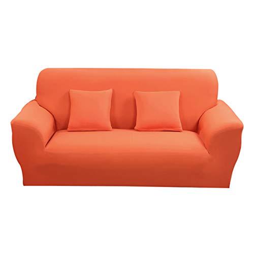 Hotniu 1-Stück Elastisch Sofaüberwurf, Sofaüberzug Polyester, Sofahusse Sofa Abdeckung Stretch, Sofabezug für Sofa, Couch, Sessel zum Schutz, mehrere Farben (2 Sitzer 135-170cm, Orange)