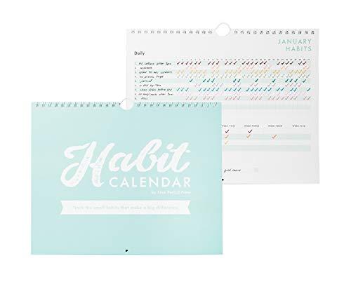 """Habit Tracker Calendar & To Do List Planner, Spiral Bound Habit Tracker with Writable Goals, 12 Months Undated, 8""""x10"""""""