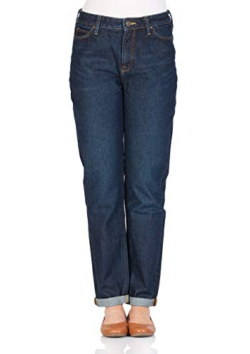 Lee Dames Jeans Mom - Straight Relaxed Fit - Blauw - Buck Dark