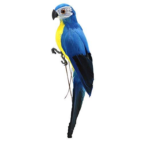 Demiawaking Pappagallo Artificiale in Piuma e Schiuma Uccelli Artificiali Ornamento Uccelli Decorativi per Casa Giardino 28cm (Blu)