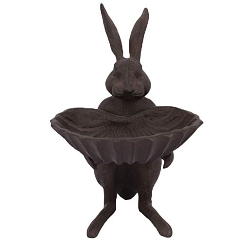 Bird Baths Vintage Cast Iron Feeder, Rabbits Shaped Antique Brown Color Bird Food Bowl, Inside Outside Garden Patio Decor (Size : 12.5×16.2×18.8cm/5×6.3×7in)