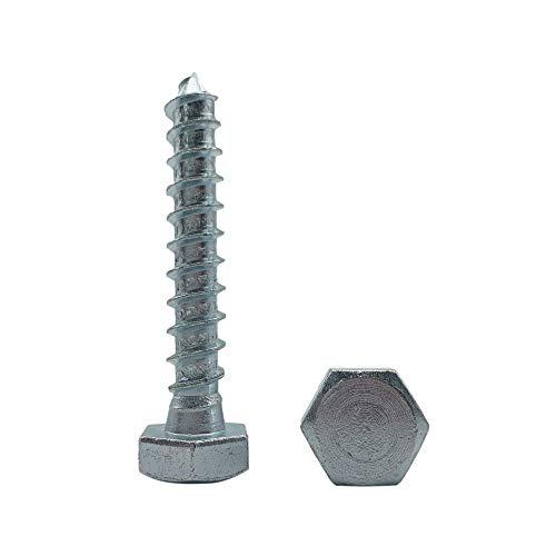 Juego de 25 tornillos hexagonales de acero galvanizado DIN 571, M10 x 60 mm, tornillos hexagonales, cabeza hexagonal, tornillos autocares (25, M10 x 60 mm)