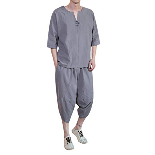 Yivise Traje de pantalón de Blusa de Estilo Chino para Hombres Conjunto de Manga Corta de Lino Fino de Gran tamaño(Gris, x-Large)