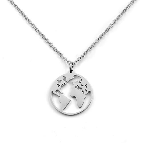 SHINE & WANDER Travel the World Necklace   Damen Edelstahl Halskette mit Weltkugel Anhänger in Gold, Silber und Roségold (Silber)