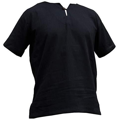 PANASIAM Sommerhemd Modell K ohne Kragen I 100% Baumwolle - luftig leicht & schnell trocknend I erhältlich als Langarm-Hemd & Kurzarm-Shirt - mit & ohne Knopf I Hemd