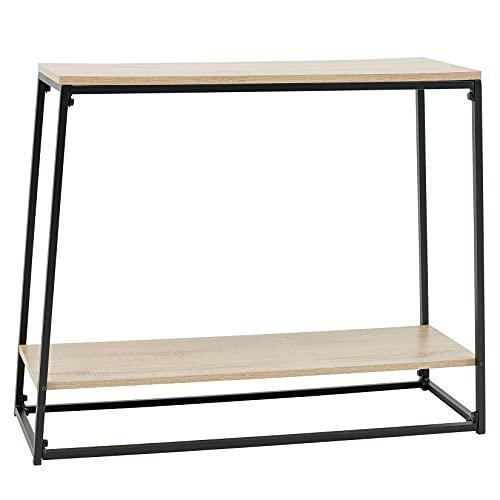 C-Hopetree Mesa consola de 2 estantes para entrada estrecha, pasillo o sofá con marco de metal negro