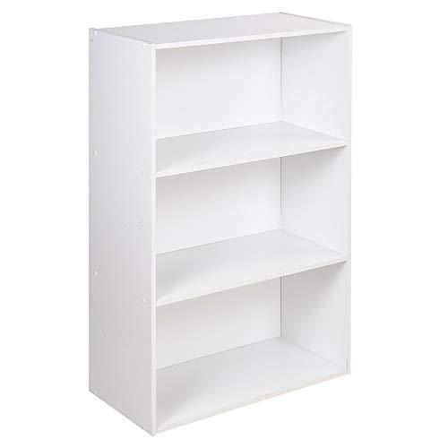 Oslo Wide 3 Tier Wooden Shelf Bookcase Stand (White)