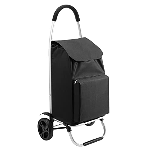 EMILXXS Utility Shopping Cart, Water-Resistant Grocery Cart on Wheels, Folding Utility Shopping Cart for Grocery with Large Capacity
