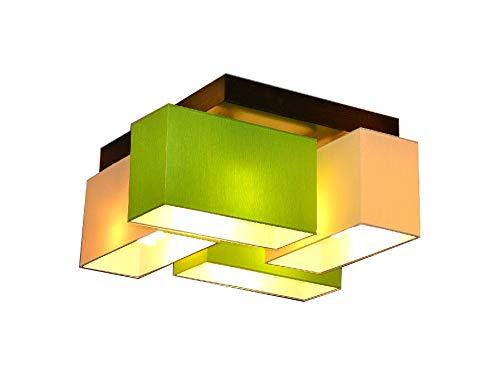Deckenlampe Deckenleuchte Milano B4D Lampe Leuchte 4 flammig verschiedene Varianten (Creme-Grün)