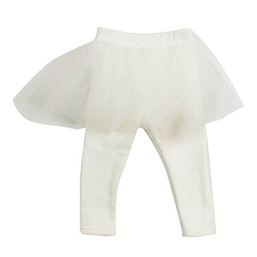 Baby Mädchen Leggins,Meedot Kinder Girl Hose Strumpfhose Legging Mädchen Leggings Hosenrock Ballettröckchen Rock White 100cm