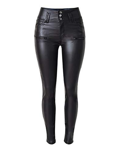 Hellomiko Kunstleder Reithosen Niedrige Taille Bleistift Jeans Pu Lederhose Sexy Leggings Hohe Taille Enge Hose