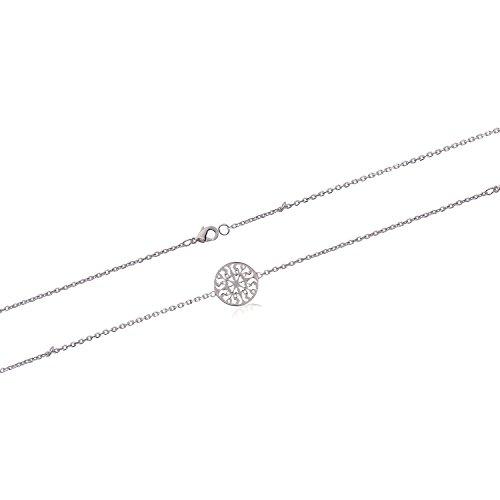 Pulsera de cadena de plata 925/000–Colgante redondo calado arabesco–Joya para mujer