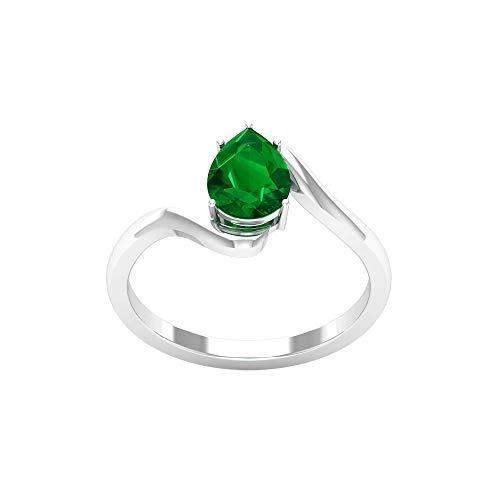 Anillo de espiral de oro esmeralda con forma de pera, anillo de boda con forma de pera, anillo de solitario para mujer, 14K Oro blanco, laboratorio creado esmeralda, Size:EU 70