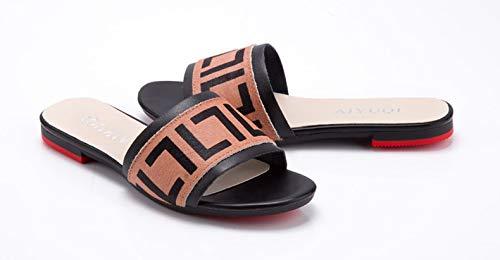 XWHKX Pantoufles Femme Pantoufles Femme À Fond Plat D'été Pantoufles Décontractées en Plein Air Chaussures Féminines