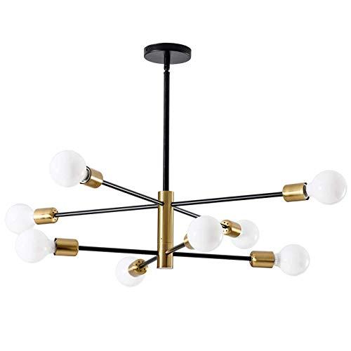 Iyom Candelabro Sputnik Moderno, candelabro Negro y Dorado, lámpara Colgante de Mediados de Siglo candelabros Dorados, lámpara de Techo para Cocina, Comedor, Sala de Estar, Dormitorio, 8 Luces