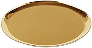 boweiwj Dinner Plates Serving Tray Stainless Steel Tray Golden Plate Cosmetics Jewelry Organizer Towel Tray Storage Tray Dish Tray Tea Tray Fruit Trays (11In Gold Round Tray)