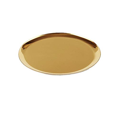 boweiwj Dinner Plates Serving Tray Stainless Steel Tray Golden Plate Cosmetics Jewelry Organizer Towel Tray Storage Tray Dish Tray Tea Tray Fruit Trays 11In Gold Round Tray
