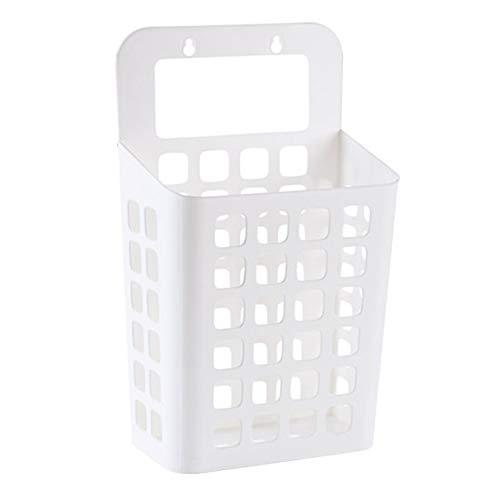 Sucker Hollow Plastic wasmand Toy vuile kleren Container huis Organizer Hollow-Out Eenvoudig te installeren Duurzaam (Color : WHITE)