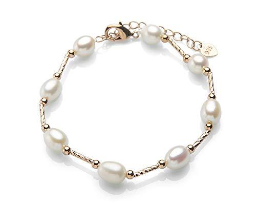 Pulsera con perlas de agua dulce bañadaen Oro Rosa.Pulsera con perlas cultivadas 8-9mm multicolor y plata de ley para mujer (Pulsera_Berlin)