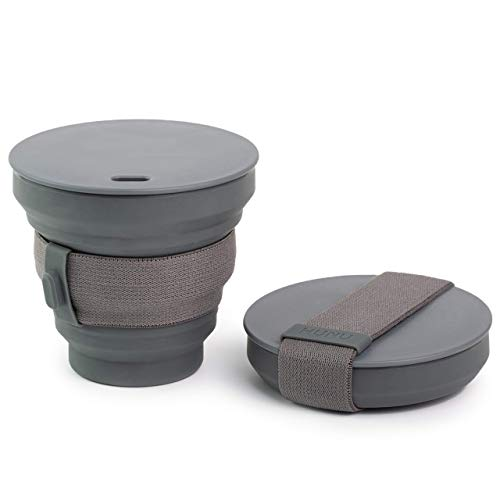 HUNU Collapsible Coffee Cup - Reusable and Portable Pocket-Sized Silicone Cup with Lid - Leakproof...