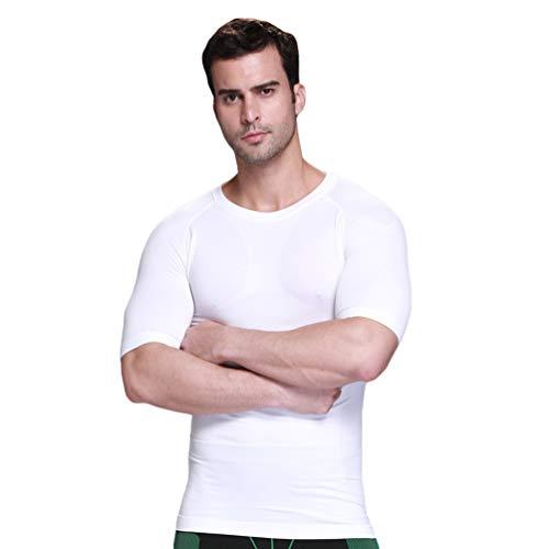 WanYangg Camiseta Reductora Hombre Interior Body Shaper Manga Corta Faja Camisetas Adelgazante Chaleco Adelgazar Abdomen Cinturón De Vientre Bajar De Peso Camisa De Compresión 17 Blanco S