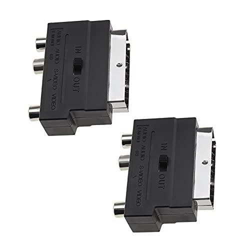 2 adaptadores de euroconector macho a 3 RCA hembra de 21 pines, conector con interruptor de entrada/salida de audio o vídeo para TV DVD o magnetoscopios.