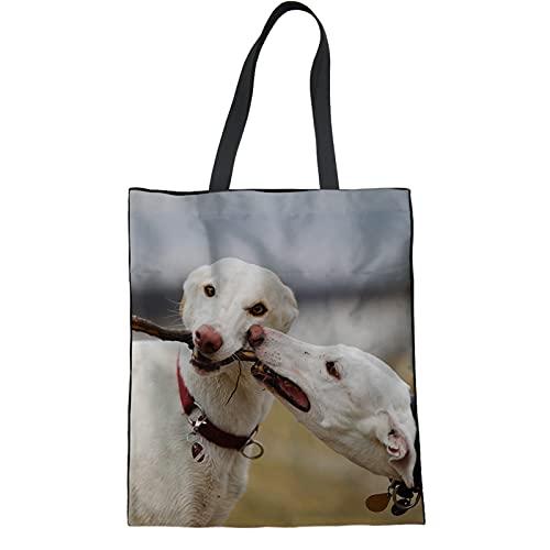 Howilath Bolso de mano para mujer, divertido perro, lindos bolsos de hombro con diseño de oso de dibujos animados, de lino, para compras, de viaje, color turquesa, Galgo divertido, Talla Unica