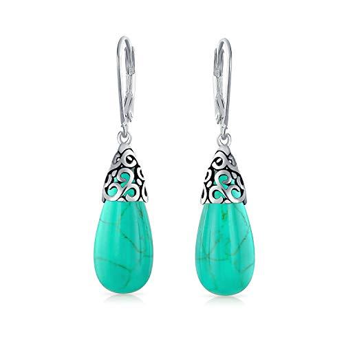 Bali Edelstein Stabilisiert Türkis Längliche Träne Filigrane Baumeln Ohrringe Leverback Für Damen Silber