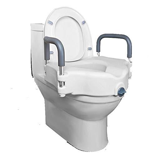 MYQ Veiligheidsframe Armsteun Toilet Booster, Verstelbare Verhoogde Toiletbril met Armen- Verbeter het Toilet,Ondersteuning Verhoogd