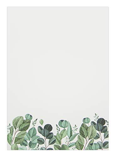 Briefpapier: Blätter • DIN A4, Creme • 50 Blatt • Natur, Pflanzen, Aquarell • Motivpapier, Designpapier, Schreibpapier, Block, Schreibblock, Notizblock, Briefblock