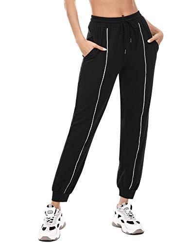 Irevial Jogginghose Damen Baumwolle Lang Trainingshose Fitness High Waist Sporthose Lang Sweathose Loose Fit Freizeithose mit Bündchen