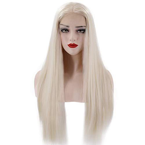 GJJSZ Perruques synthétiques,Femmes Résistant à la Chaleur Dentelle Élastique Net Longue Ligne Droite Perruque de Cheveux Extension Postiche pour Partie Cosplay Costume