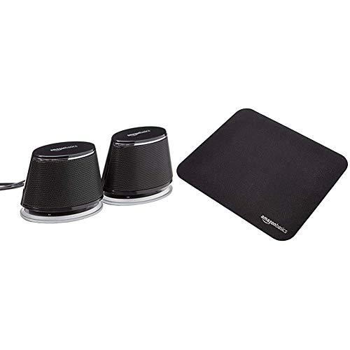 Amazon Basics PC Lautsprecher mit dynamischem Sound USB Betrieb Schwarz 1 Paar Gaming Mauspad