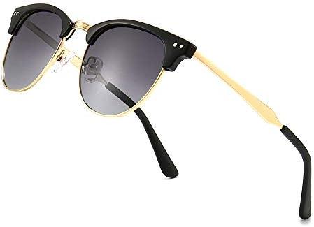 SUNGAIT Classic Semi rimless Polarized Sunglasses Unisex Vintage Round Design Gray Gradient product image