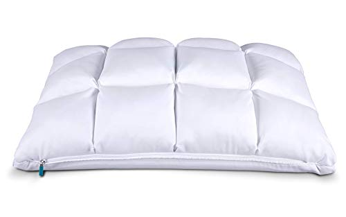Leesa Hybrid Reversible Cooling Foam/Quilted Pillow for Sleeping, White, Queen Size