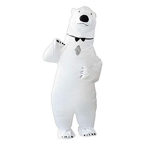 Sucpur Disfraz inflable de oso polar, de cuerpo entero, para adultos, de color blanco, para Halloween, divertido, cosplay, Navidad, disfraz de fiesta, suministros para 150-190 cm