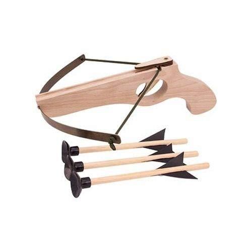 BestSaller 12129 Holz Armbrust klein mit Stahlbogen, inklusive 3 Bolzen, natur (1 Stück)