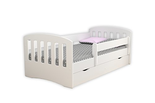 Children's Beds Home Single Bed Classic 1 - para niños Niños Niños pequeños con cajones y colchón de Espuma de 8 cm Incluido (Blanco, 140x80)