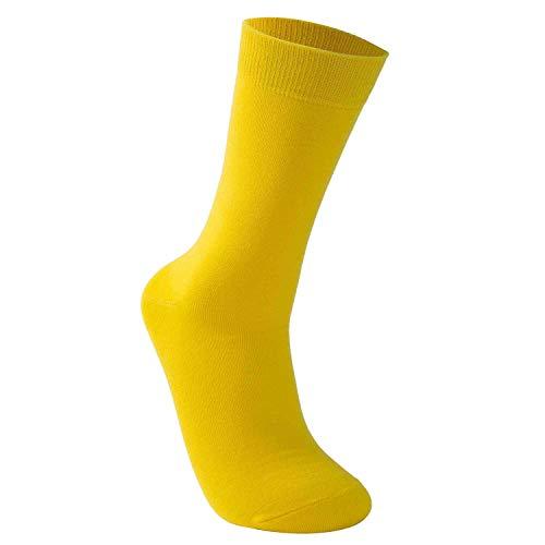 Vkele einfarbig Socken, Ideal als Geschenke, bunt Herrensocken Baumwolle, Crew Socken Gelb, 43 44 45 46, 1 Paar