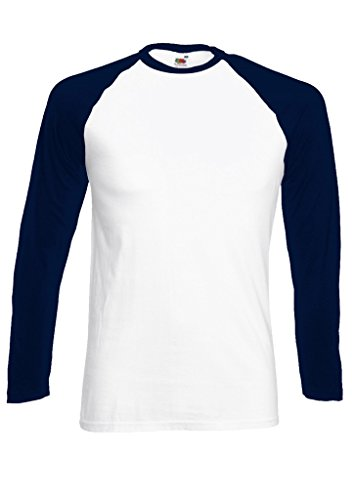 Plain Gildan Cotton Blank Oversized Tshirt T-Shirt Navy/White Men Women Unisex Long Sleeve Baseball T Shirt-M