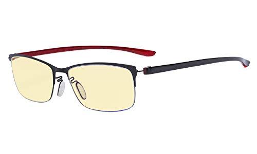 Eyekepper Computer-Brille - Blaulicht Schutzbrillemit gelber Filtergläser - Halbrand-Lesebrille Damen - Schwarzer Rahmen +1.00