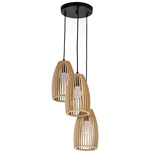 JIANAND Artesanía de Madera Bar Restaurante Material Arte nórdico Ático Lámpara Colgante Americana de una Sola Cabeza Iluminación Retro Lámpara de Madera