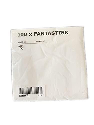 Ikea Fantastisk Lot de 100 serviettes en papier Blanc 40 x 40 cm