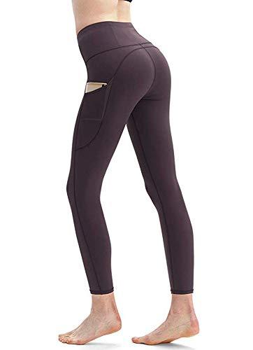 Yavero Sporthose Damen High Waist Blinkdicht Sport Leggings Elastische Tummy Control Yogahose Lange Laufhose mit Taschen,Stil: Weinrot M